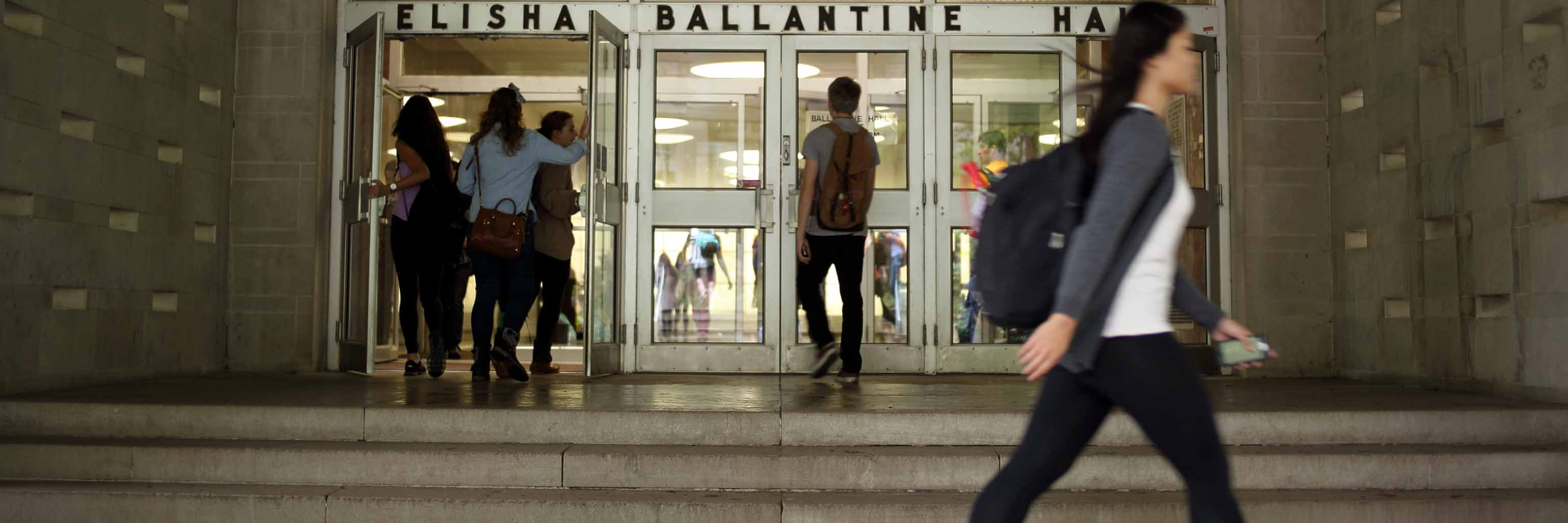 Students entering Ballantine Hall